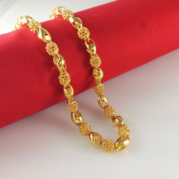"Wholesale Men's 18k yellow gold filled necklace 24""Figaro chain 6.5mm wide 30g Men's GF Jewelry"