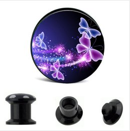 Acrylic Blue Butterfly Logo Ear Gauge Plug And Tunnel Stretcher Expander 4-16mm Double Flared Screw Fit Plug