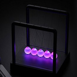 Wholesale 2015 new LED Newtons Cradle Balance Balls Desk Science Toy Gift Kinetic Light
