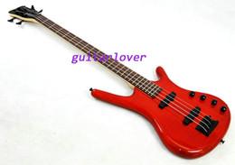 Descuento guitarras llama roja Best selling 4 cuerdas de basswood con la parte superior de arce flameado cuerpo de color rojo guitarra baja guitarra arce mecha guitarra bajo de China directa de la fábrica