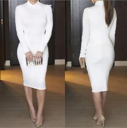 2016 New Brand Long Party Dresses High Collar Sexy Bandage Bottoming Women Dress Casual Dress Vestido de festa ZJ1384