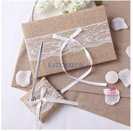Wholesale 2pcs set new wedding favors unique Linen lace devise Guestbook Pen Set