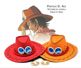 Wholesale Retail Anime Cartoon One Piece Ace Sun Hat Cosplay Cowboy Red Yellow Hats