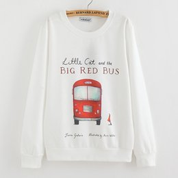 European 2015 New Bright Printing Red Bus Women Hooded Wool Crew Neck Sweatshirt Womens Loose Large Size Hedging Sweatshirt