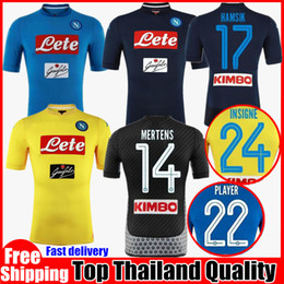 2017 2018 Serie A Naples New Napoli home soccer jerseys Napoli Black Yellow football Jersey men Shirt 17 18 HAMSIK L.INSIGNE MERTENS Shirts