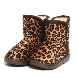 Cute Girl Boy Kids Winter Warm Leopard Print Furry Lined Snow Ankle Boots Shoes 2 Colors