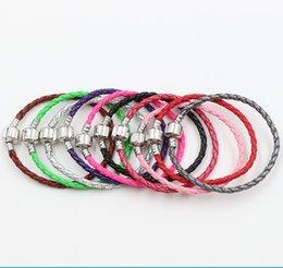 Wholesale 57Colors New Pandora Single silver Leather Bracelets Chains Fit European Charm Beads cm cm cm Jewelry DIY