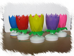 Rotating Music Candle Light Birthday Lotus Sparkling Flower Candles Light Wedding Birthday Party Flower Music Candle Event Festive 5 color