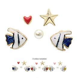 Wholesale European and American jewelry trade of the original single colored fish Japanese star heart shaped pearl earrings earrings