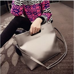 Wholesale-2015 New Fashion Women Leather Handbags Brand Famous Woman Shoulder Bag Tote Vintage Black Beach Shopping Bags For Women