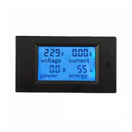 Wholesale 1pcs New LCD AC V A Voltmeter Ammeter Volt Ampere Power Energy Meter Gauge With Blue Backlight Data Storage Function