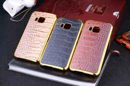 Wholesale Crocodile Electroplate Hard Case Leather Chrome Snake Veneer Gluing For Samsung Galaxy S6 EDGE HTC ONE M7 M8 M9 LG G3 skin Cell phone luxury