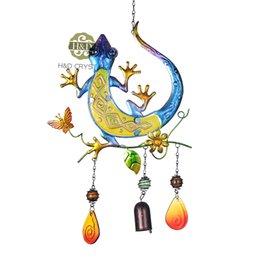 Wholesale Deal Blue Lizard Design Metal Suncatcher Gift Decorative Pendant Home Garden Decoration Crafts Beautiful Hanging Wind Chimes