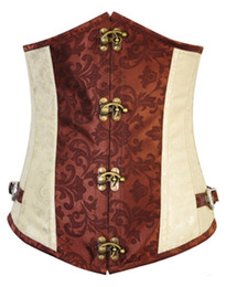 Sexy Body Shapers Steampunk Metal Boned Gothic Lingerie Underbust Corset Shapewear Waist Trainers Cinchers Lace Up Back S-2XL