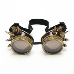 Wholesale 2015 WELDING CYBER GOGGLES GOTH STEAMPUNK COSPLAY GOTH ANTIQUE VICTORIAN WITH SPIKES