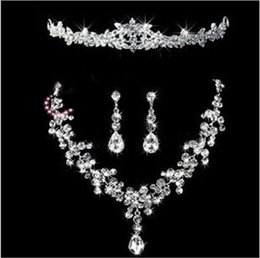 Wholesale Bridal Tiaras Hair Necklace Earrings Accessories Wedding Jewelry Sets cheap price fashion style bride hair dress bridalamid HT027