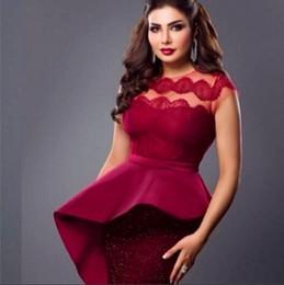 2015 Latest Stunning Burgundy Prom Dress Myriam fares Sheath Evening Dress Crew Neck Applique Sequin Cap Sleeve Special Occasion Dress