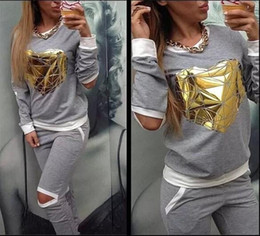 2016 Hot Gold Heart Hollow Out Lady Tracksuit Women Hoodies Sweatshirt +Pant Jogging Sports Costumes Track suit 2 Piece Set