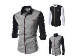 2014 Autumn Mens patchwork casual long-sleeve shirt cotton slim dress fashion men's shirt