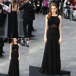 Black Long Elegant Evening Dresses A Line Square Sweep Train Celebrity Dress in Red carpet Vestidos de festa Prom Gowns 2016