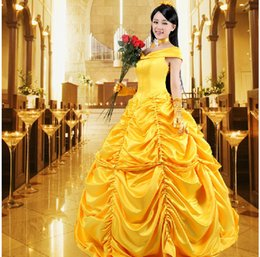 Wholesale Beauty And The Beast La Belle et la Bete Princess Dress Bell Princess Yellow Dress Cosplay Halloween Costume Dress Customized