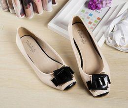 Wholesale Flat Heel Casual Fashion Woman Shoes Super Soft Cowmuscle Outsole Copper Buckle Bowtie Ornament Large US Size