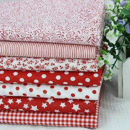 Wholesale 105pcs Red DIY Handmade Vintage Floral Fabric Head Plaid Cotton Fabric