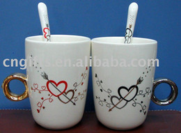 Wholesale 50pcs sets mug spoons for set ceramic lovers mug diamond ring couple cup with spoons