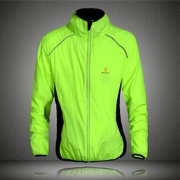 Vélo vélo veste de manteau de pluie en Ligne-FG1509 Cyclisme Vent Manteau Imperméable à manches longues Jersey Professional Windbreak Shirts Jacket Cycle Bike Bicycle porte le vert