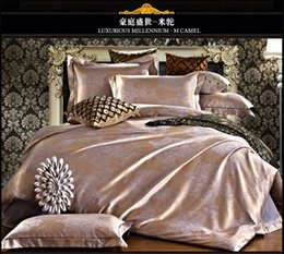 Wholesale Tribute Silk bedding sets bean red home textile silk bed set tencel jacquard silk bedding queen size bed sheet duvet cover B5014