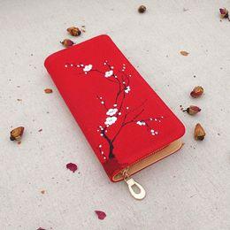 Wholesale 2016 Beautiful Bags Fashion Original Women Ladies Handmade Canvas Titoni Flowers Long Wallet Card Money Holder Clutch Purse Wallets B6184