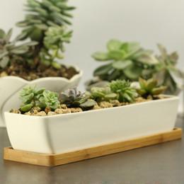 Wholesale Modern Style Decorative White Rectangle Ceramic Crafts Succulent Planter Flower Mini Pot with Bamboo Tray EB DJ15608