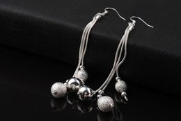 015 GSSPE006 Valentine's Day Best Summer Gift Round Ball Drop Earrings High Quality Fashion Silver Jewelry Free Shipping