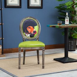 Wholesale manufacturers of custom dog pattern minimalist chairs solid wood furniture
