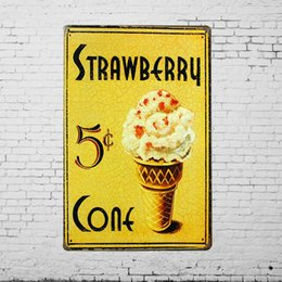 Wholesale TIN SIGN quot Strawberry Cone quot Metal Painting Decor Wall Art Kitchen Ice Cream Candy Store