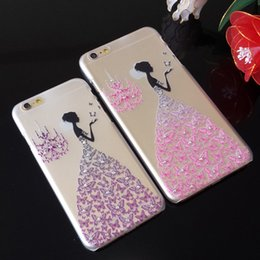 Wholesale New Fancy Rhinestone wedding dress D Relief art luxury crystal hard back cover phone case for iPhone s