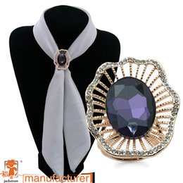 Wholesale Scarecrow jewelry fashionable purple oval three ring large glass not hook silk gem chain scarves buckle speed sell on amazon