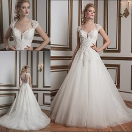 Wholesale Fall Justin Alexander Wedding Dresses Sheer Capped Sleeves Queen Anne Neckline A Line Court Train White Lace and Tulle Bridal Gowns