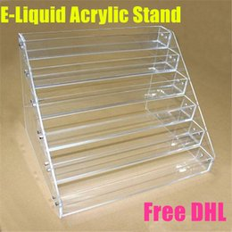 Wholesale Acrylic e cig display showcase ego e cig stand show shelf holder rack for ml ml ml ml e liquid eliquid e juice needle bottle DHL