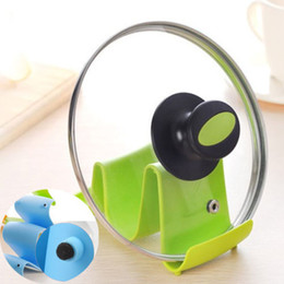 Wholesale 1PCS Practical Wave Design Pot Lid Stand Cooking Spoon Holder Support Shelf Kitchen Cooker Random Color