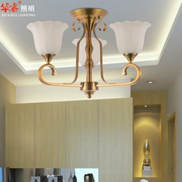 Wholesale suspension brass Living room light fixtures head antique chandeliers classical industrial metal ceiling pendant lights glass lampshade