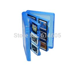 Memoria xbox en venta-Azul 28-en-1 Juego de la tarjeta de memoria de la cubierta de la caja de titular Cartucho de almacenamiento para Nintendo 3DS cartucho para camión de almacenamiento