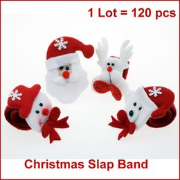 Wholesale-120pcs Christmas Slap Bands, Snap Straps, Wrist Band Bracelet w  Stuffed Santa, Snowman, Reindeer, Bear, Christmas Gifts