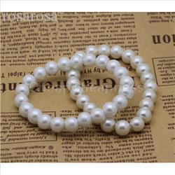 Wholesale-Fashin Elegant Elastic Beaded Bracelets for Women Gorgeous Single Row Faux Pearl Bracelets Strand Bracelets Women