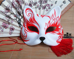 Hand- painted Fox Mask Endulge Japanese style Full Face PVC Halloween Animal Mask Masquerade Cosplay Party Masks Free Shipping