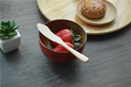 High Quality Jam Knife Originality Wooden Dinnerware Knife Children Dinnerware Cake Knife Burlywood 15.5*2.3cm Size Free Shipping