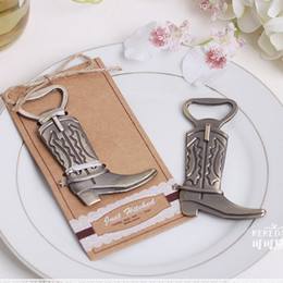 Wholesale DHL quot Just Hitched quot Cowboy Boot Bottle Opener Shoes open bottle opener European wedding Favor and furniture gift