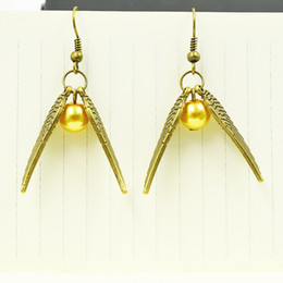 Wholesale 10 Pairs NEW Movie Jewelry Harry Potter Earrings Golden Snitch Drop Earrings Antique Bronze and Silver Wings for Women best Gifts
