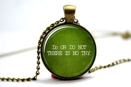 Wholesale 10pcs Do or Do Not There is No Try Star Wars Inspired Necklace Photo Glass Cabochon Necklace