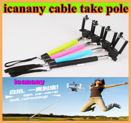 Wholesale Monopod Selfie Stick Extendable Self Timer direct groove Wired Handheld Icanany Z07 plus plus Cable Take Pole for iphone s IOS Samsung